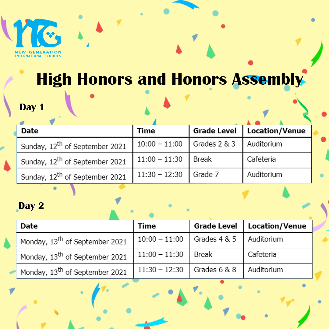 'High Honors and Honors Assembly'for the Academic Year 2020 – 2021